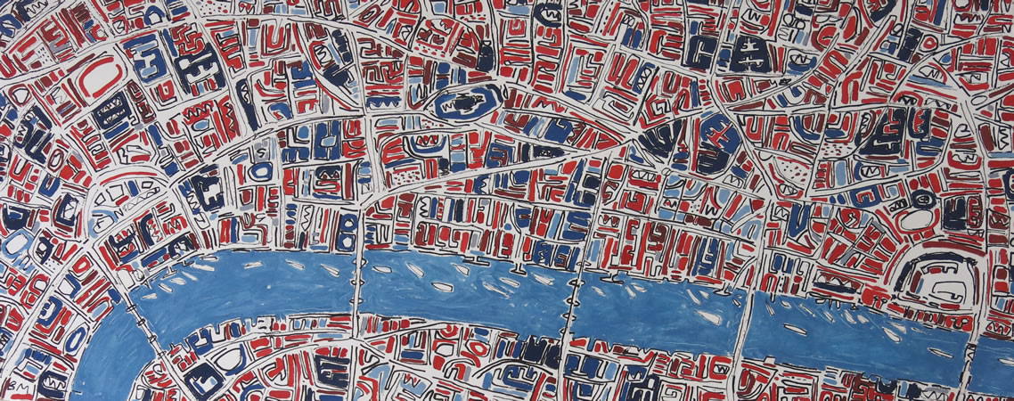 Barbara Macfarlane, Long Blue and Red London Ink and oil on handmade paper 80 x 200 cm