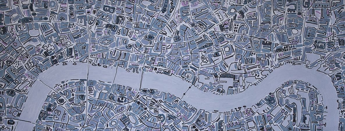 Barbara Macfarlane, Silver Thames with Violet Ink and oil on handmade paper 80 x 200 cm