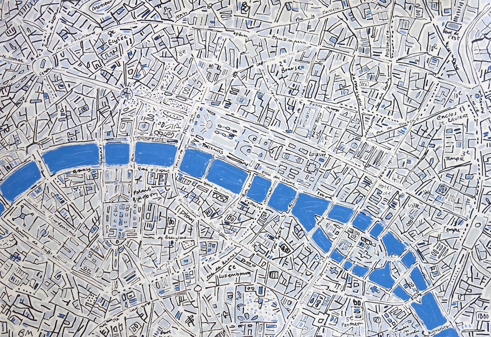 Barbara Macfarlane, Paris, King's Blue image size 95 x 135 cm. Ink and oil on Khadi handmade paper